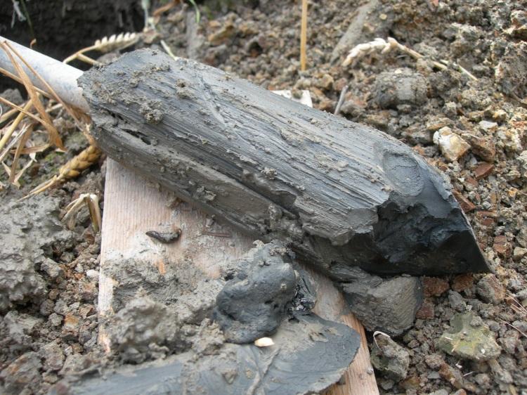 En potentiell sur sulfatjord som är svart eller mörkgrå i färgen.