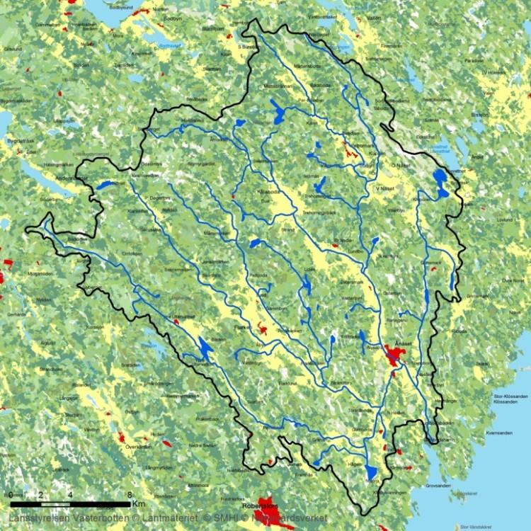 Karta över Hertsångerälvens avrinningsområde.